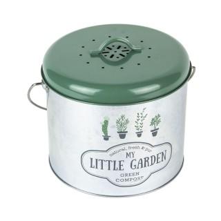 Composteur de cuisine en métal Little Market - 5 L - Vert