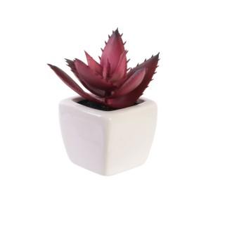 Plante artificielle en pot - H. 13 cm - Rouge