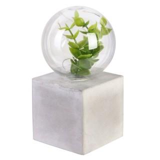 Décoration lumineuse avec plante - H. 14,5 cm - Gris