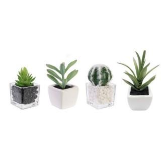 4 Plantes artificielles en pot - H. 13 cm