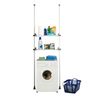 Etagère pour machine à laver et toilette - H. 165/300 cm - Gris