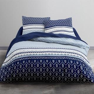 Parure de lit Karavas - 100% coton 57 fils - 240 x 220 cm - Bleu