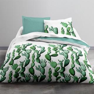 Parure de lit Cactus - 100% coton 57 fils - 240 x 220 cm - Vert