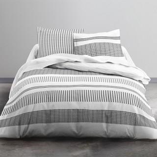 Parure de lit Linky - 100% coton 57 fils - 240 x 220 cm - Blanc