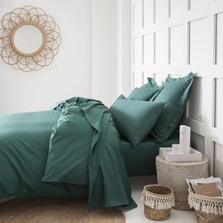 Parure de lit - 100% coton - 220 x 240 cm - Vert émeraude