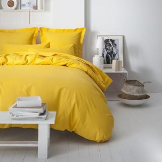 Parure de lit - 100% coton - 240 x 260 cm - Jaune safran
