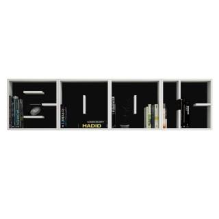 Etagère murale design Letters - L. 197 x H. 49,2 cm - Noir et blanc