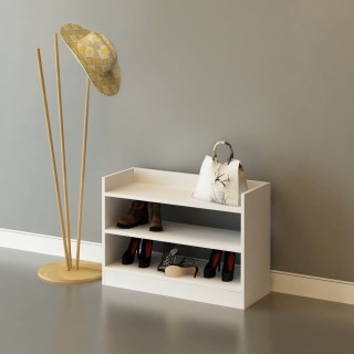 Meuble à chaussures design Adolfo - L. 80 x H. 60 cm - Blanc