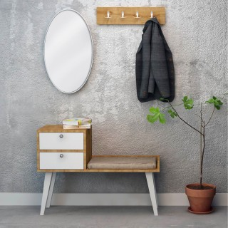 Meuble d'entrée design Elsie - L. 100 x H. 70,6 cm - Marron noix