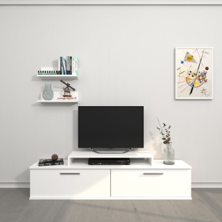 Meuble TV avec étagère Orione - L. 150 x H. 39,5 cm - Blanc
