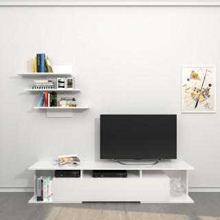 Meuble TV avec étagère design Bounty - L. 170 x H. 36 cm - Blanc