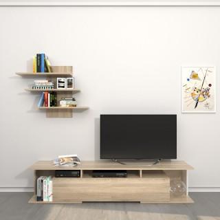 Meuble TV avec étagère design Bounty - L. 170 x H. 36 cm - Marron somona