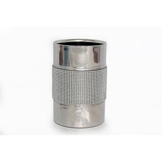 Seau à bouteille en acier Strass - Diam. 12 cm - Argent