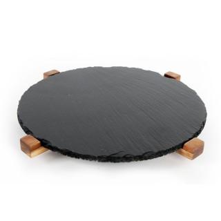 Plateau à fromage en ardoise - Rotatif - Diam. 30 cm - Noir