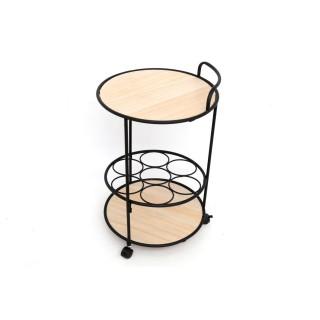 Table d'appoint industrielle Jeff - Diam. 37 x H. 60 cm - Marron somona