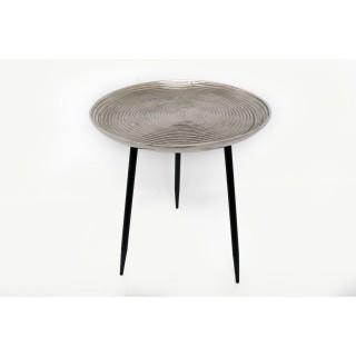 Table d'appoint en métal Silver - Diam. 45 x H. 49 cm - Argent