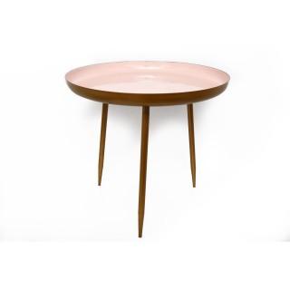 Table d'appoint en métal Silvia - Diam. 46 x H. 55 cm - Rose pastel