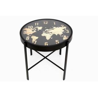 Table d'appoint en métal Mappemonde - Diam. 50 cm - Noir