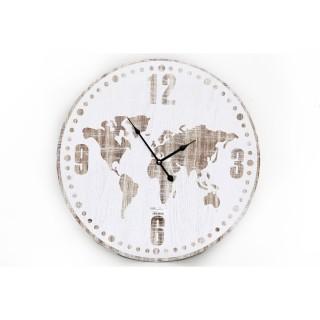 Horloge murale Mappemonde - Diam. 60 cm - Blanc