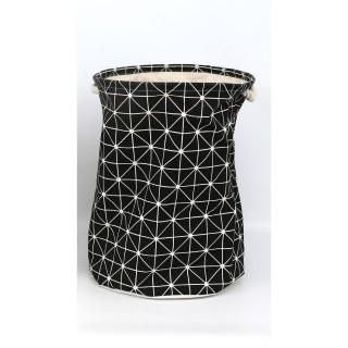 Panier à linge Géométrique - Diam. 38 x H. 42 cm - Noir
