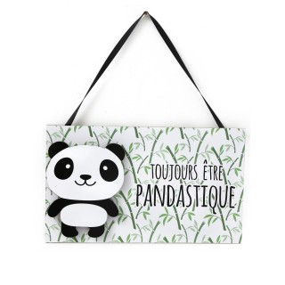 Plaque murale LED enfant Panda - L. 34 x H. 28 cm - Pandastique