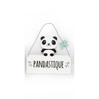 Plaque murale enfant Panda - L. 20 x H. 16 cm - Pandastique