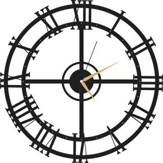 Horloge murale en métal Clock - Diam. 50 cm - Noir