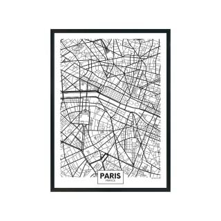 Tableau carte ville City Map- L. 33 x H. 43 cm - Paris