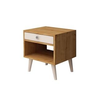Table de chevet design Fenola - L. 45 x H. 50 cm - Marron chêne