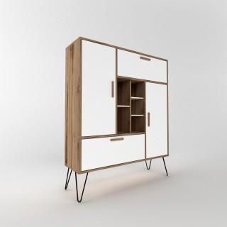 Bibliothèque design Ares - L. 120 x H. 140 cm - Blanc