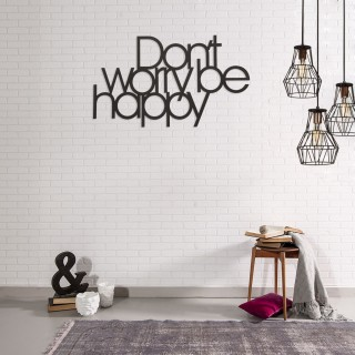 Décoration murale en métal - L. 50 x H. 30 cm - Be happy