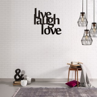 Décoration murale en métal - L. 50 x H. 50 cm - Live laught love