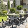 Table de jardin extensible Azua - Aluminium - 10 Personnes - Gris graphite