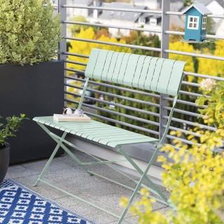 Banc de jardin pliable Nasca - L. 90 x H. 86 cm - Vert sauge