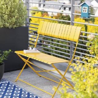 Banc de jardin pliable Nasca - L. 90 x H. 86 cm - Jaune moutarde