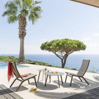 Chaise relax de jardin Forro - Marron noisette
