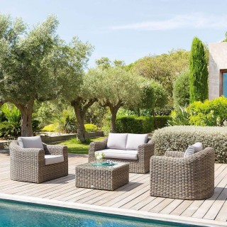 Salon de jardin en résine tressée Mooréa - 4 Places - Marron naturel