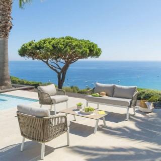 Salon de jardin Barcelone - 4 Places - Marron tonka et blanc