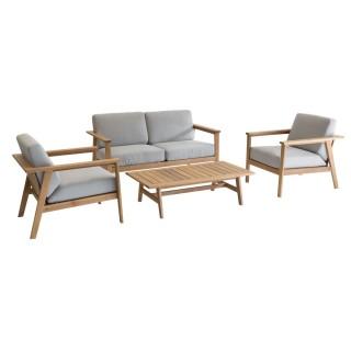 Salon de jardin Estiva - 4 Places - Couleur bois clair