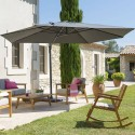 Parasol déporté rectangulaire Eléa - Inclinable - L. 420 x l. 300 cm - Gris anthracite