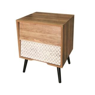 Table de chevet en bois Ethnical - L. 48 x H. 60 cm - Marron naturel