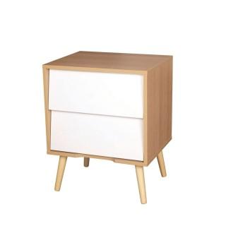 Table de chevet en bois vintage Leo - L. 48 x H. 60 cm - Blanc