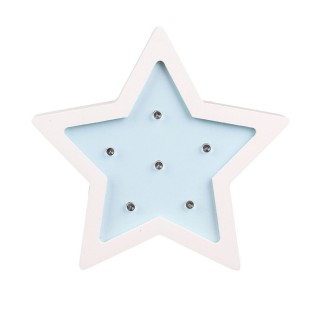 Lampe en bois enfant Etoile - H. 13 cm - Bleu