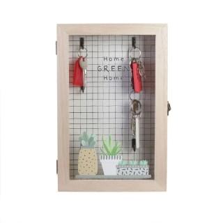 Boîte à clés en bois Little Market - L. 19 x H. 30 cm - Marron naturel