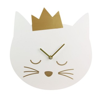 Horloge murale enfant Princesse chat - Diam. 30 cm - Blanc
