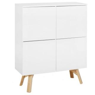 Buffet vaisselier scandi Awen - L. 110 x H. 139 cm - Blanc