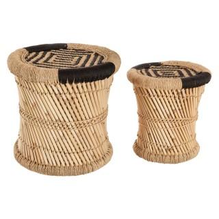 2 Tables gigognes en bambou Nomade - Noir