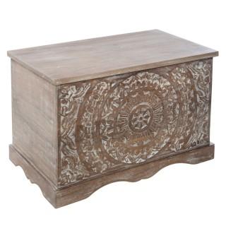Coffre en bois ethnique Shirel - L. 71 x H. 44 cm - Marron