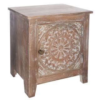 Table de chevet ethnique Shirel - L. 40 x H. 45 cm - Marron