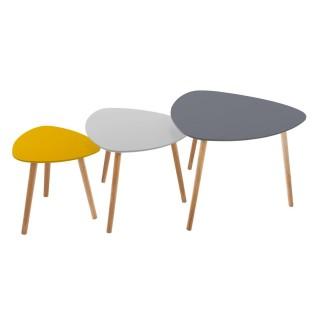 3 Tables d'appoint design Mileo - Gris et jaune
